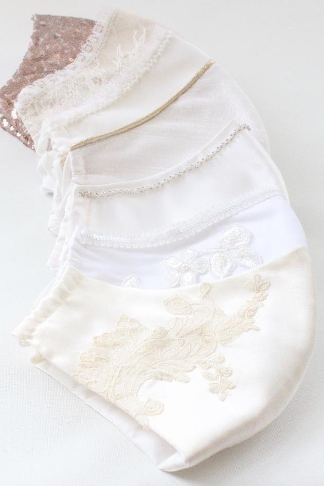 Luxury silk wedding face masks.