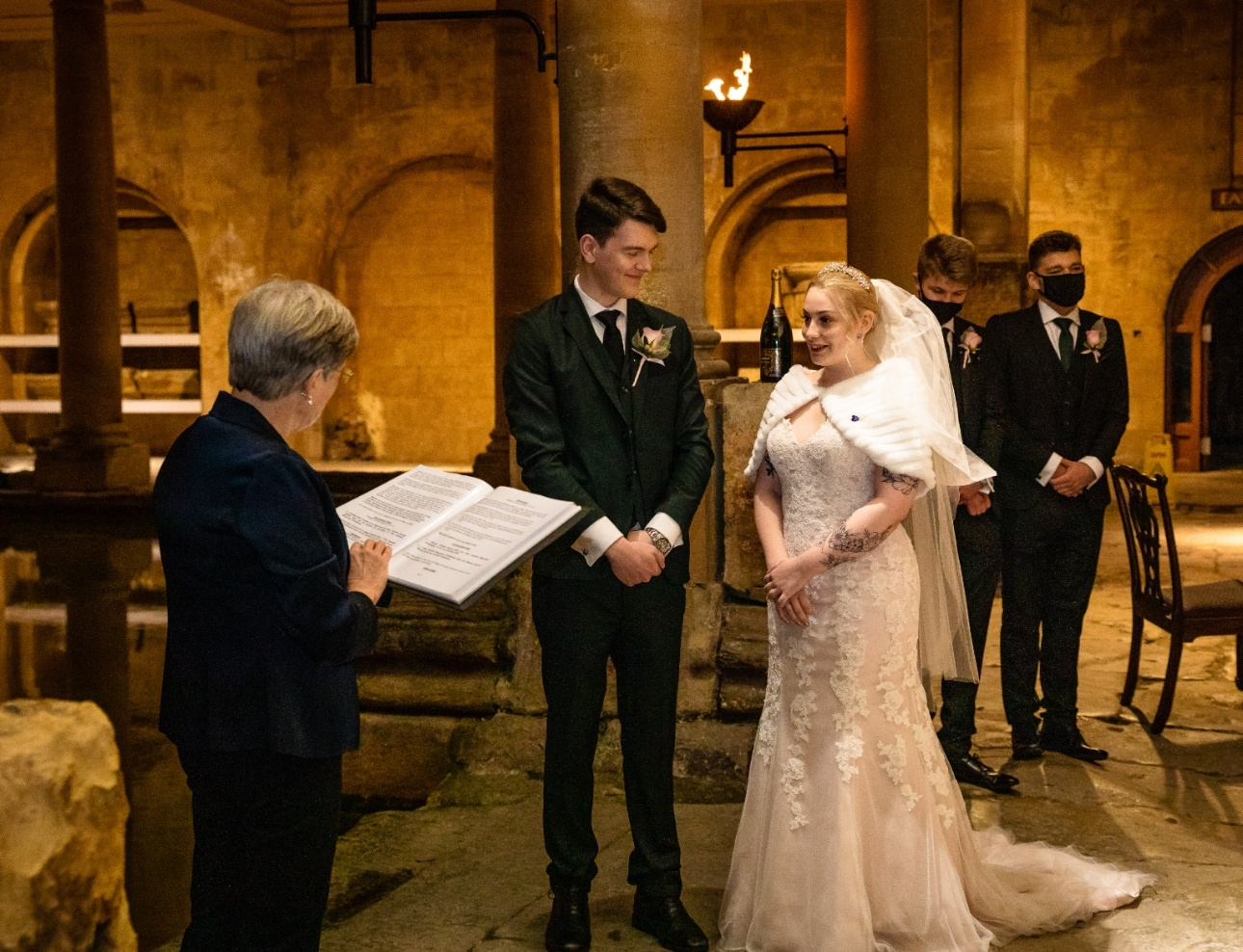 Mr and Mrs White-Christmas get married at the Roman baths in Bath