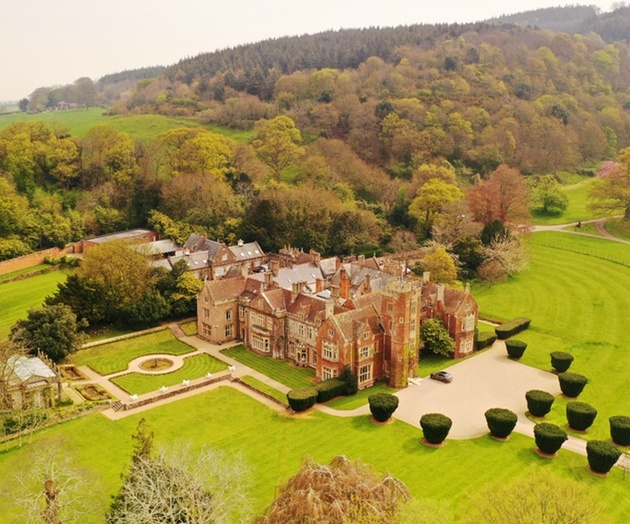 Drone shot of St Audries Park wedding venue with gardens