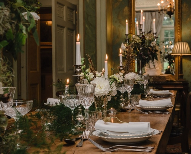 Intimate table set up for wedding at Somerset venue Maunsel House