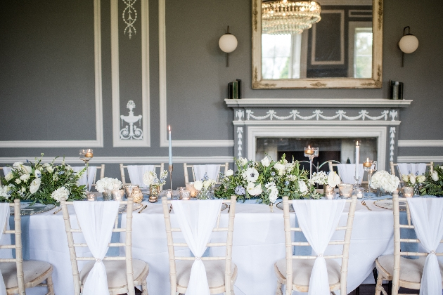 stately home venue with white tablescape colour palette